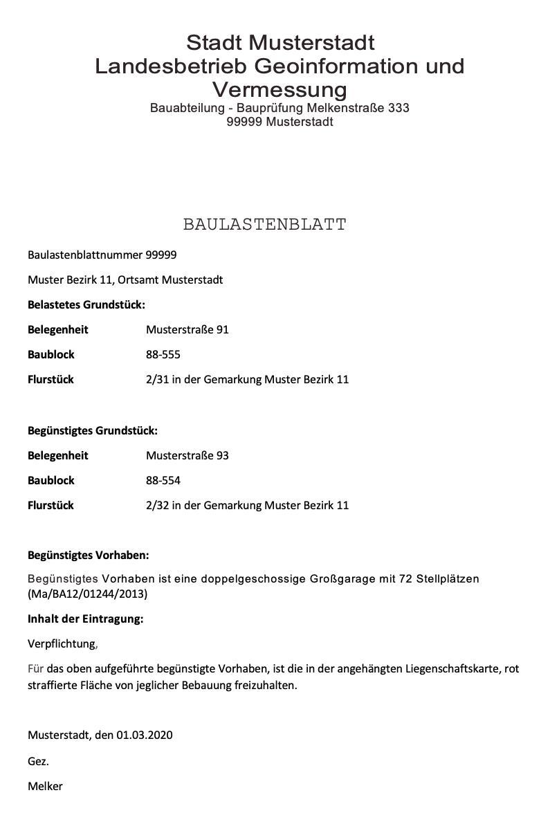 Der Auszug aus dem Baulastenverzeichnis. Das Muster eines Baulastenblatt