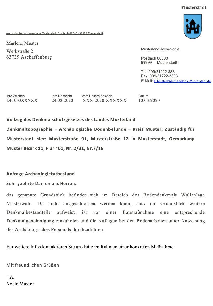 Das Muster einer Denkmalschutzauskunft für Bodendenkmäler.