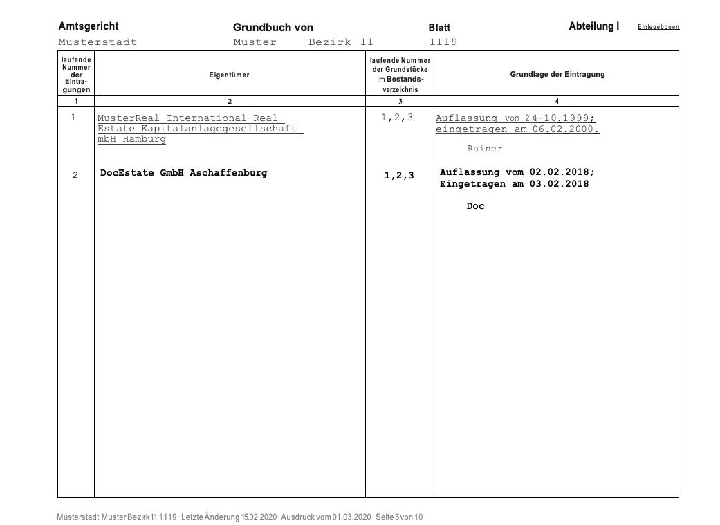 Muster eines Grundbuchauszugs: Abteilung 1. Die erste Abteilung nennt in erster Linie die Eigentümer des Grundstücks.