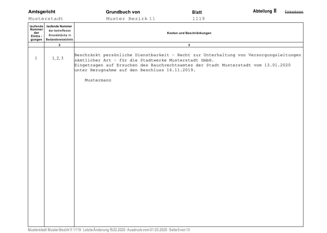 Muster eines Grundbuchauszugs: Abteilung 2. Hier werden dinglichen Rechte wie Nießbrauch, Reallasten oder Dienstbarkeiten aufgeführt.