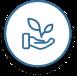 Icon offene Hand und wachsende Pflanze