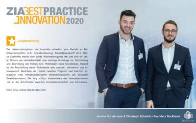 ZIA kürt DocEstate zu den Best Practice-Innovationen 2020